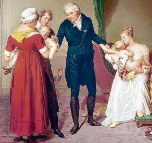 Vacunació de braç a braç (oli de Constant Desbordes)